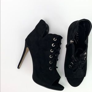 ALDO Black Suede Open Toe Lace Up Ankle Boot 8.5